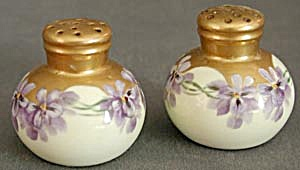 Vintage Hand Painted China Violet Salt & Pepper Shakers (Image1)