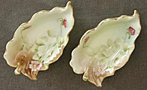 Vintage Hand Painted Leaf Shaped Open Salt Dips