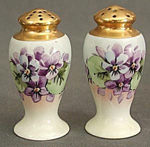 Vintage Hand Painted China Violet Salt & Pepper (Image1)