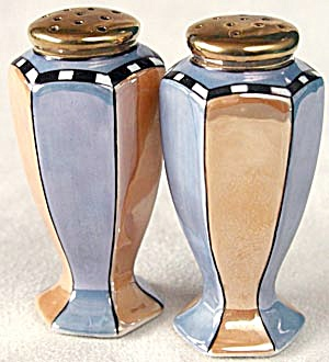 Art Deco Blue & Carmel Luster Salt & Pepper Shakers (Image1)
