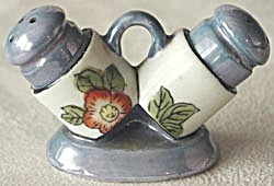 Vintage Flower Luster Salt & Pepper Shakers in Holder (Image1)