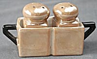 Vintage Luster Salt & Pepper Shakers in Holder (Image1)