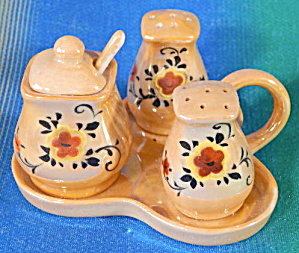 Vintage Gold Luster Condiment Set In Tray