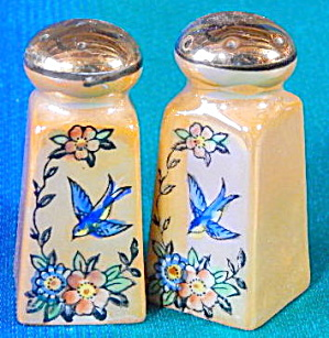 Bluebird Luster Salt & Pepper Shakers