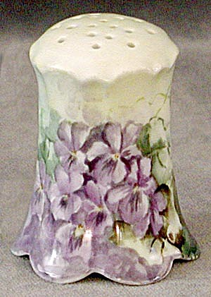 Vintage Hand Painted Violets Sugar Shaker Or Muffineer