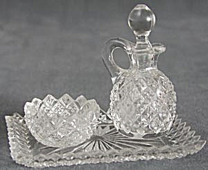 Antique Glass Condiment Set (Image1)