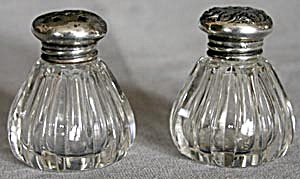 "Vintage 2"" Cut Glass Salt & Pepper Shakers"