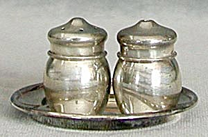 Vintage Silver Salt & Pepper On Tray