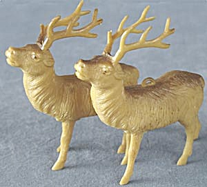 Vintage Brown Plastic Reindeer Set Of 2