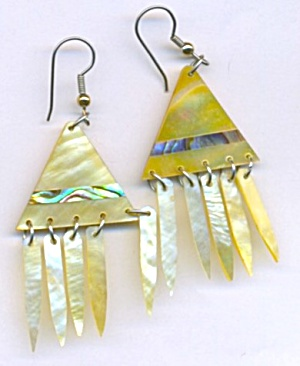 Vintage Mother Of Pearl& Abalone Earrings (Image1)