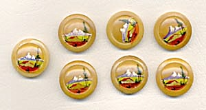 Vintage Painted Mountain Scene Buttons