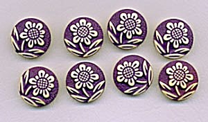 Vintage Plastic Buttons With Raised Flowers