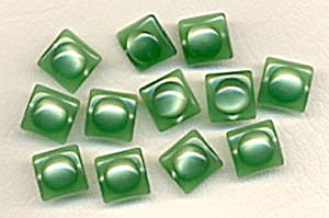Vintage Plastic Green Moonglow Square Buttons