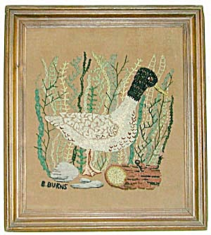 Vintage Embroidered Duck Framed Picture (Image1)