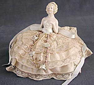 Vintage German Half Doll Pin Cushion in Gown (Image1)