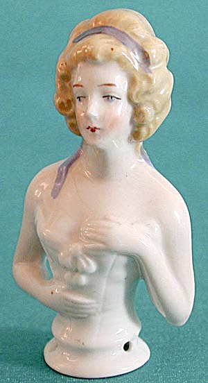 "Vintage 3 1/4"" Blonde German Half Doll Pin Cushion (Image1)"