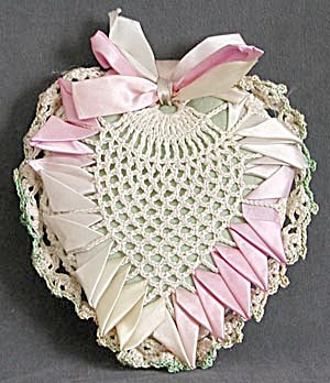 Vintage Heart Crochet & Ribbon Pillow Pin Cushion