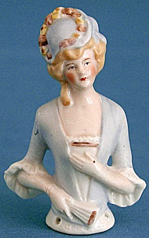 "German 3 1/4"" Porcelain Lady Pin Cushion Half Doll"