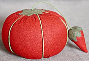 Vintage Tomato Pin Cushion With Strawberry Sharpener