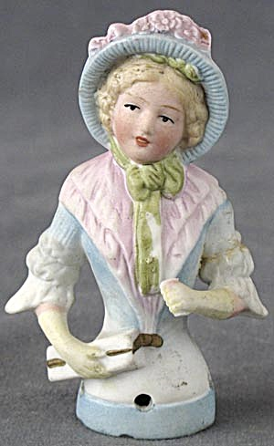 German Waving Lady Pin Cushion Half Doll Repaired
