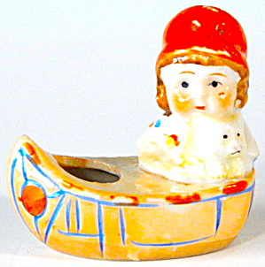 Vintage Lusterware Girl & Dog In A Canoe Pin Cushion