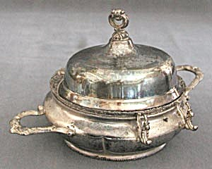 Vintage Silver Plate Round Butter Dish (Image1)