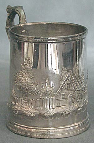 Silver Plate Branch Handled Mug Engraved With Cottage