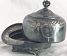Antique Silver Plated Butter Dish Dented (Image1)