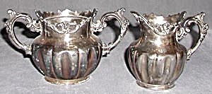 Antique Silver Plated Creamer & Sugar (Image1)