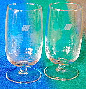 Vintage United Airlines Logo Stemmed Glasses