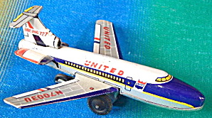 Vintage United Boeing 727 Tin Friction Toy Airplane