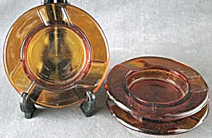 Vintage Amber Glass Cigar Ashtrays Set Of 3
