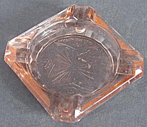 Pink Depression Glass Square Ashtray