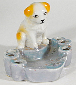 Vintage Lustreware Ashtray Cigarette Holder Puppy Dog
