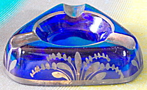 Cobalt Blue Glass Triangle Ashtray/ Sterling Overlay