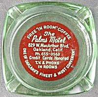 Vintage Palms Motel Green Glass Ashtray