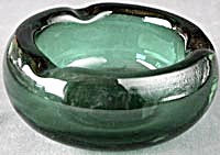 Vintage Deco Green Glass Ash Tray