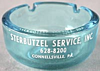 Vintage Aqua Glass Advertising Ashtray