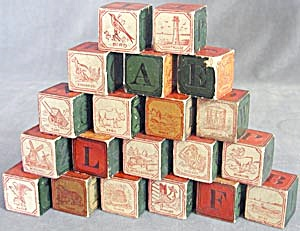 Vintage Child's Wooden Blocks Set of 20 (Image1)