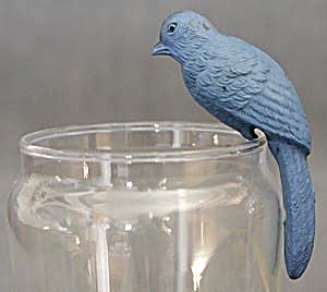 Vintage Celluloid Blue Parrot Swinging Toy (Image1)