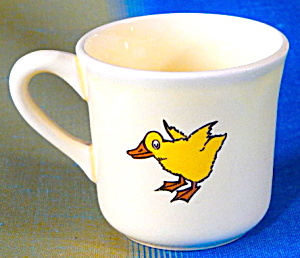 Vintage Child's Pottery Duck & Dog Mug