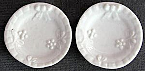 Antique Tiny White Porcelain Embossed Doll Plates
