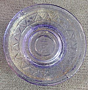 Vintage Tiny Blue Glass Embossed Doll Plate