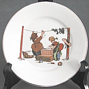 Vintage China Plate With Children Doing Laundry