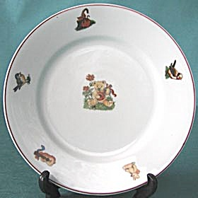 Vintage Child's China Animal Plates Set Of 2