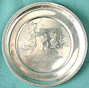 Vintage Stamped Aluminum 3 Little Kittens Plate