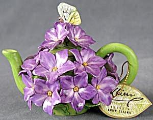 Vintage Mini Violet Floral Teapot  (Image1)