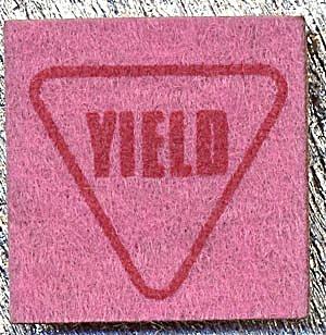 Cracker Jack Toy Prize: Yield Felt Patch (Image1)