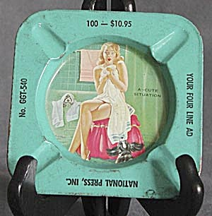 Vintage Metal Ashtray - Girly Advertising (Image1)