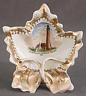 Vintage German Leaf Shaped Pipe Ashtray With Lighthouse